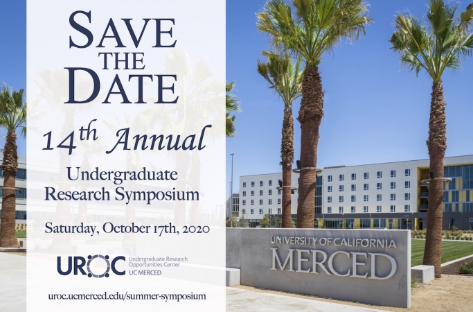 Image of campus entrance with Save the Date for 14th annual undergraduate research symposium on October 17