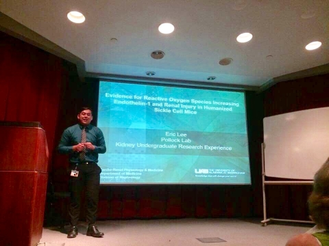 Eric Lee giving his oral presentation at UAB, Summer 2017
